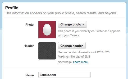 Image settings on Profile page