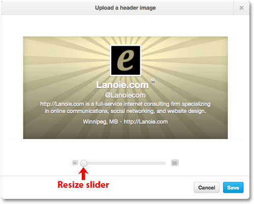 Upload header dialog